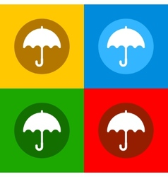 Color Umbrella Icons Set in Flat Design Style vector image