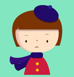 cute girl wearing purple scarf and beret vector image vector image