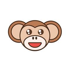 Cute monkey face kawaii style vector
