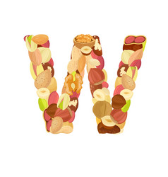 delicious letter made from different nuts w vector image vector image