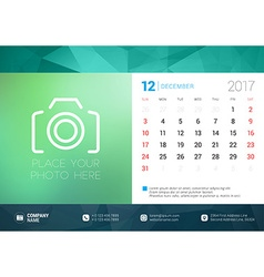 Desk calendar template for 2017 year december vector