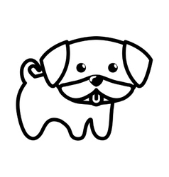 dog little tongue out outline vector image