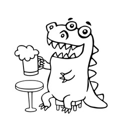 dragon sitting with a mug of beer vector image