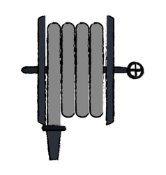 Drawing fire hose holding gray vector