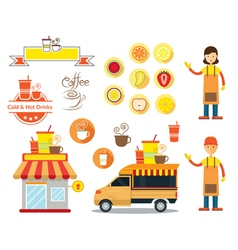 Drinks and beverage shop graphic elements vector