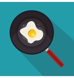 Egg fried with pan icon vector