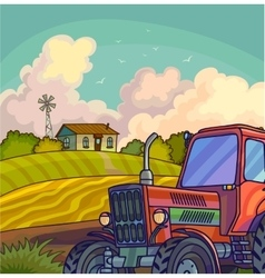 Farm rural landscape with field and tractor vector
