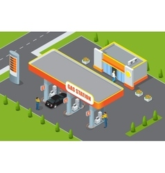 Gas station 3d isometric Gas station concept Gas vector image