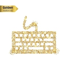 Gold glitter icon of keyboard isolated on vector