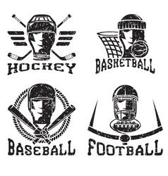 grunge vintage sport labels set vector image vector image