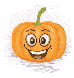 Happy pumpkin vegetable cartoon character smiling vector