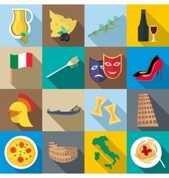 Italia icons set flat style vector