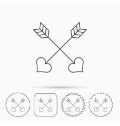 Love arrows icon Amour equipment sign vector image