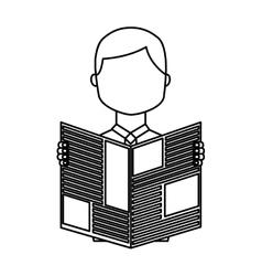 Man reading newspaper icon vector