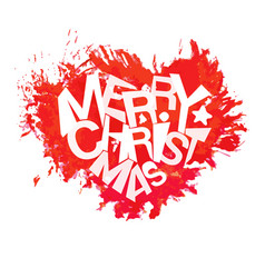 Merry christmas typography at watercolor heart vector