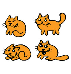 Orange cats emoticons set isolated vector