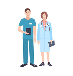 Pair of male and female doctors wearing scrubs and vector
