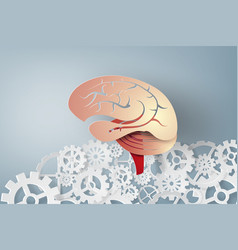 Paper art of brain with gear concept idea vector
