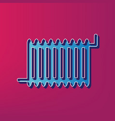 Radiator sign blue 3d printed icon on vector