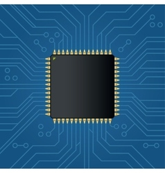 Realistic black electronic microchip vector