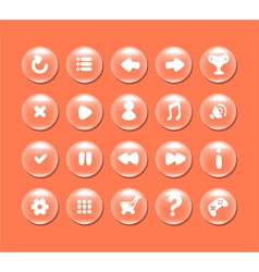 Round buttons with icons for interface vector image