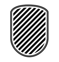 rounded shield with striped in monochrome vector image