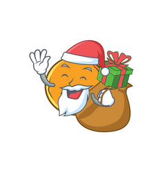 Santa with gift orange fruit cartoon character vector