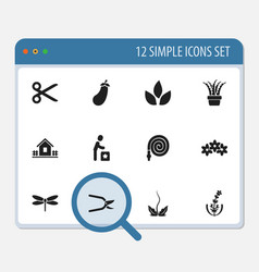 Set of 12 editable planting icons includes vector