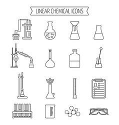 Set of linear chemical icons Flat design Isolated vector image vector image