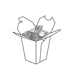 Sketch of chinese food in a box vector