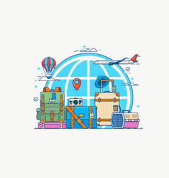 travel globe with pin camera vector image vector image