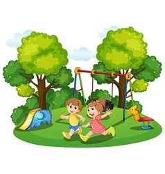 Two kids running in the park vector image vector image