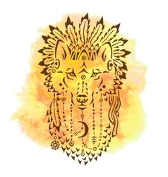 Wolf in war bonnet hand drawn animal vector