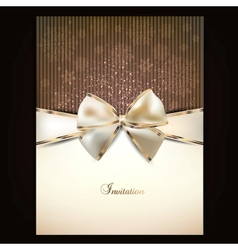 Greeting card with white bow and copy space vector image