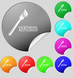 vegetarian restaurant icon sign Set of eight multi vector image