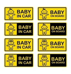 Baby on Board Sign Set White Background vector image