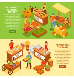 Farm market banners set vector