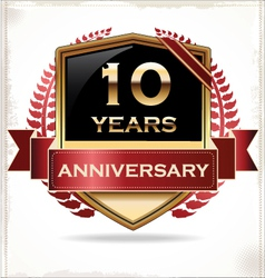 10 years anniversary golden label vector