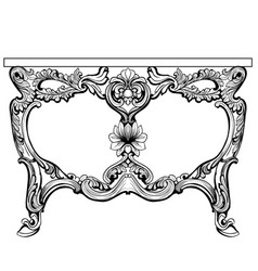 Baroque console table engraved french vector