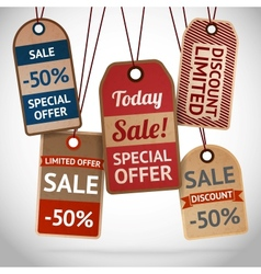 Collection of discount cardboard sale labels vector