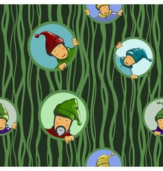 Gnomes in circles seamless pattern vector