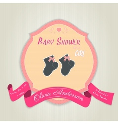 Baby shower invitation with socks for baby girl vector