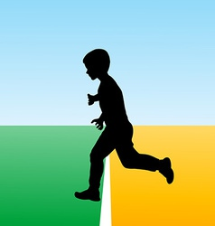Boy crossing the finish line concept for new begin vector