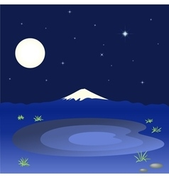 Mountain and lake in the night sky vector
