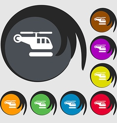 Helicopter icon sign symbol on eight colored vector