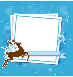 Blue Christmas background with deer vector image