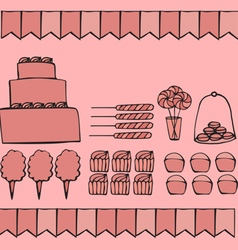 Candies party ideas vector