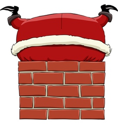 Santa in the chimney vector