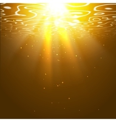 Underwater orange background with sun rays vector image