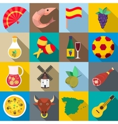 Spain icons set flat style vector